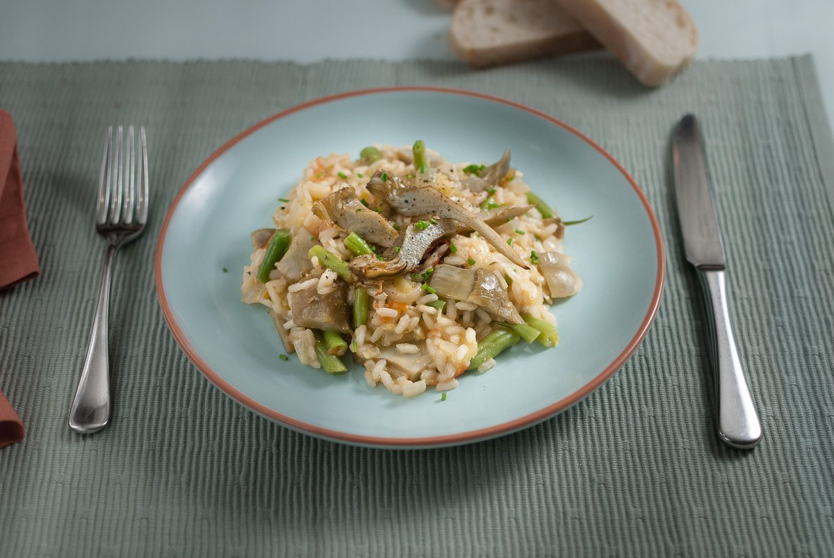 'Unlike my brothers I've never been a risotto fan...but with enough artichokes and home grown beans...'