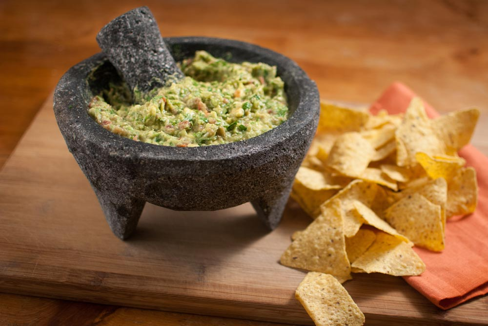 'Wow, spicy guac in Dad's volcanic rock molcajete thing! If you're like me and addicted to guac...'