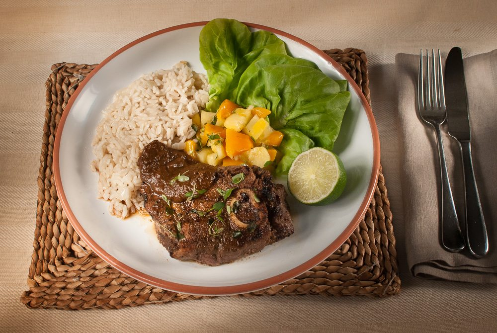 'Summer is here! Time to go to your local butchers, pick up some good meat and fire up the BBQ! Try out dad's tasty Caribbean Jerk marinade with a yummy mango and pineapple relish!'