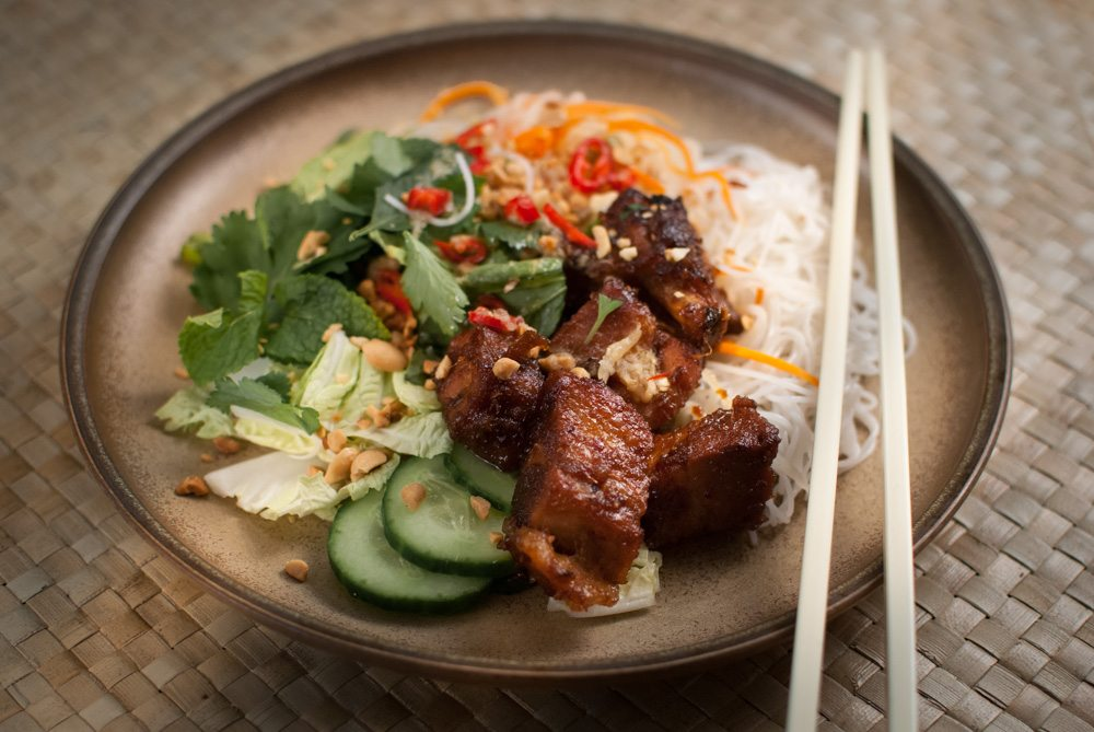 Bun cha, along with pho and banh mi is something of a cult at the moment. I made it myself and now know why it's so popular; It's a perfect balance of ingredients, texture and taste. A brilliant dish.