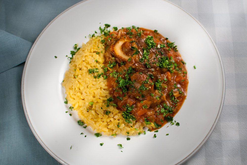 This is an Italian classic. Made with veal shin it is traditionally served with risotto Milanese and gremolata. It's possibly my favourite Italian dish.