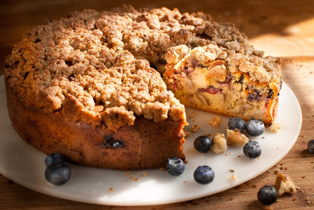 Here's a cake that's a cross between a blueberry muffin and a Dorset apple cake. It tastes fantastic.