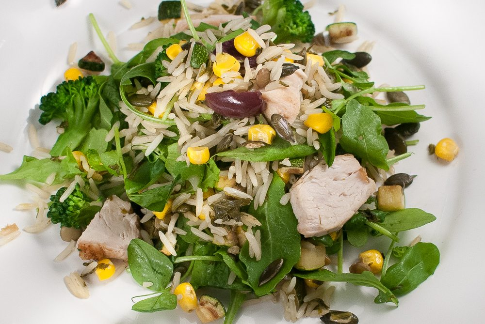 Here is a very grown-up way to use sweetcorn. The salad starts life as a herb and sweetcorn pilaf. So if you like sweetcorn make the pilaf and use it as part of a hot meal - or use it in this salad.