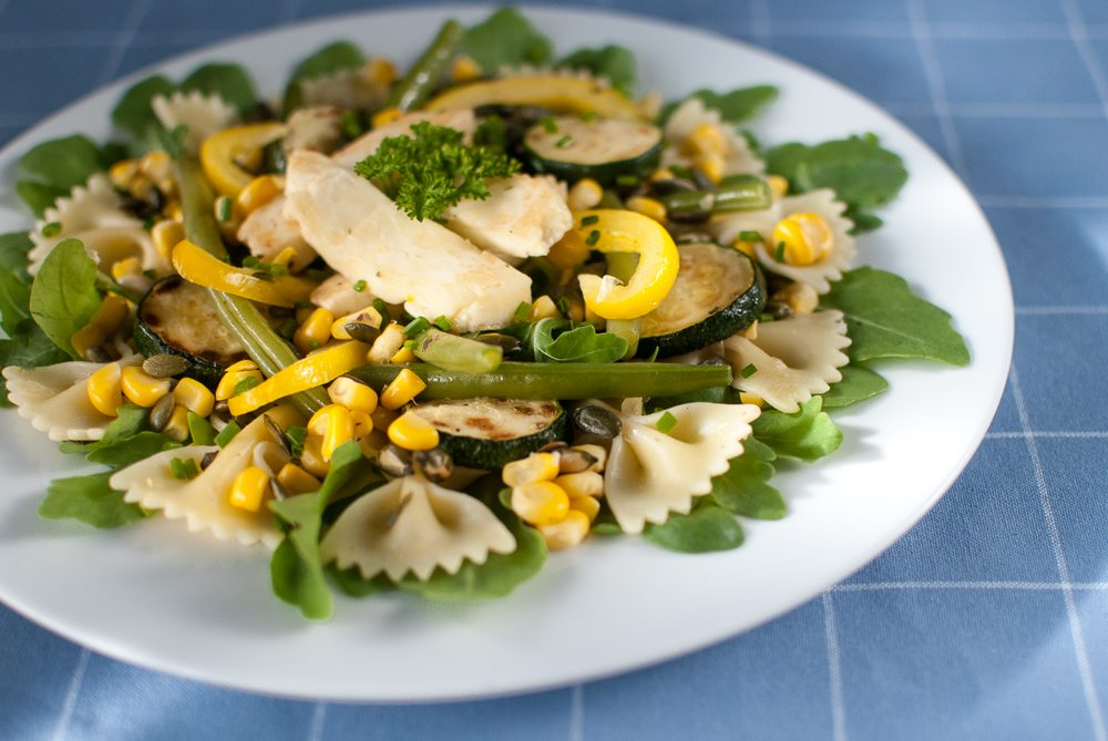 Beans, courgettes and sweetcorn all in season - here's a great pasta salad that combines all three with grilled halloumi.
