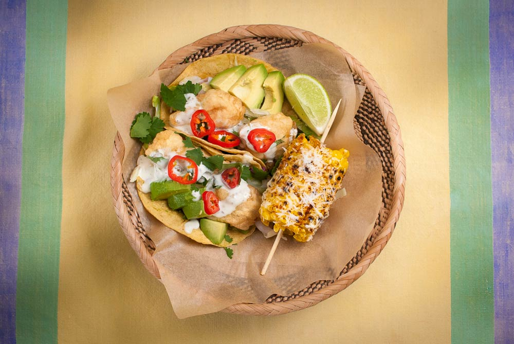 I've posted another recipe for fish taco using salmon. This versions has a developed sauce which is rather like a Mexican tartar sauce. I've also added street-style corn on the cob which is a perfect accompaniment.