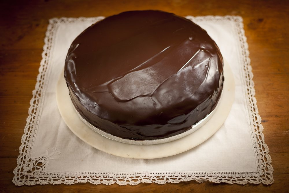 A classic chocolate torte, but I've used black cherry conserve instead of apricot jam - when you add a big swirl of whipped cream - it becomes a Black Forest gateaux Sachertorte!