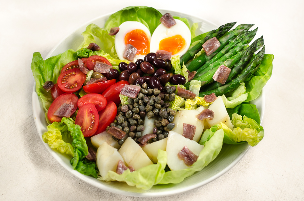 The exact constituent parts of an authentic Niçoise salad is a matter of contentious debate. There must be as many points of view as there are cooks. So I am throwing my hat into the ring and offer up Niçoise with asparagus!!