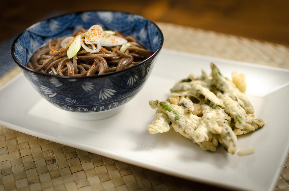 This is a classic Japanese way with soba and tempura. Strickly speaking the asparagus tempura is kaki-age, made like a tempura fritter rather than individual spears coated in tempura. But such academic details seem trivial when it comes to tempura - any tempura is amazing - especially asparagus!