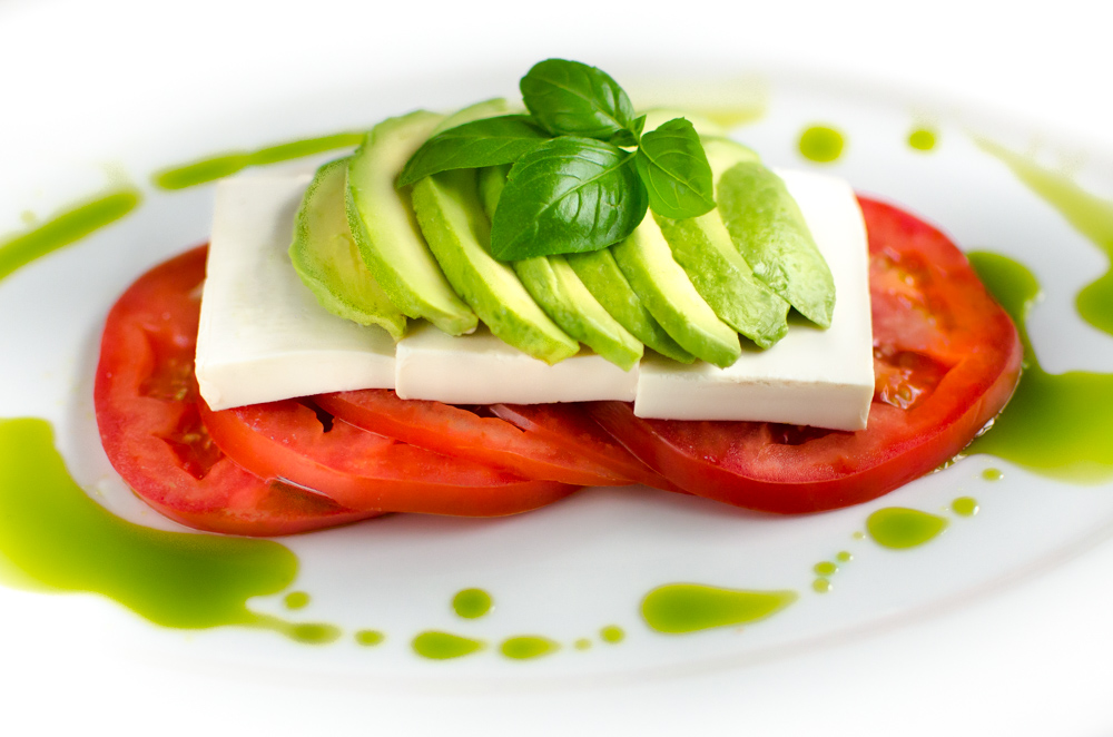 The Italian tricolor? A caprese salad? But it's not mozzarella - it's tofu. Tofu and avocado are a match made in heaven - so can the partnership be more inclusive ? Absolutely.