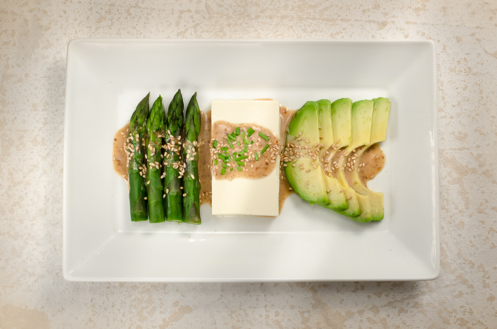 Asparagus and nuts have an affinity - I've used hazelnuts and seen recipes with pistachios, so sesame should - and does - marry well. Avocado and tofu work well together, and asparagus eats well with avocado. This recipe brings all these flavour combination together in a Japanese style dish.