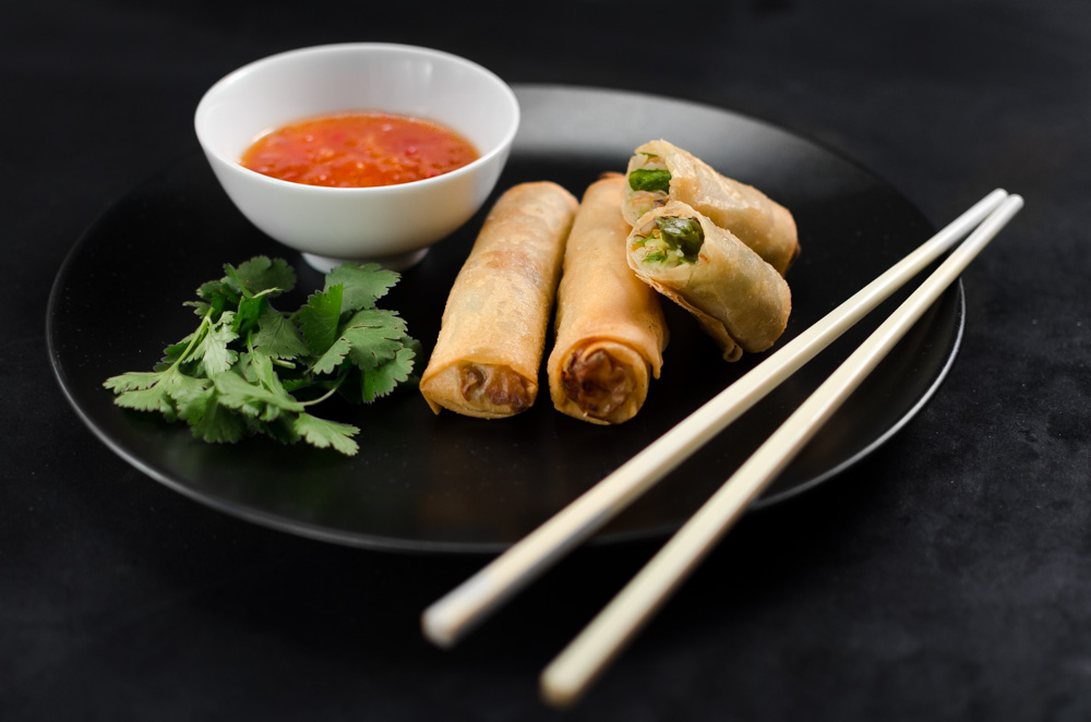 Spring rolls never fail to impress or delight. These rolls are designed to celebrate the asparagus season and although they taste deliciously Asian, you really can taste the asparagus. It works a treat.