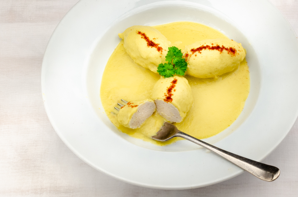 Tuna and Sweetcorn - but not as you know it! The tuna is blended and formed into a quenelle and covered in a sweetcorn sauce.