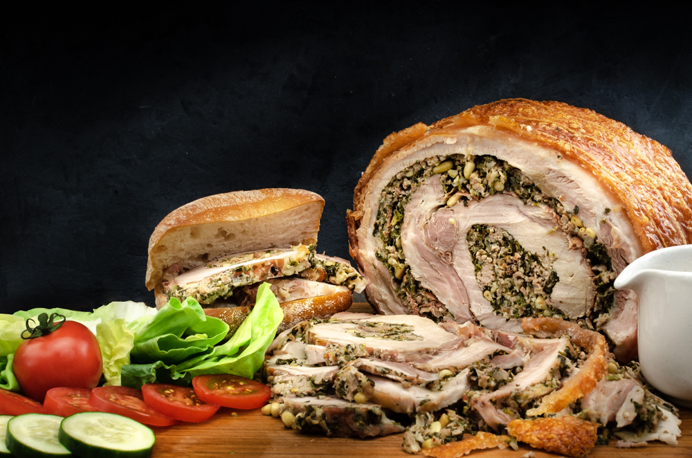 A traditional Italian roast pork joint for a special occasion.