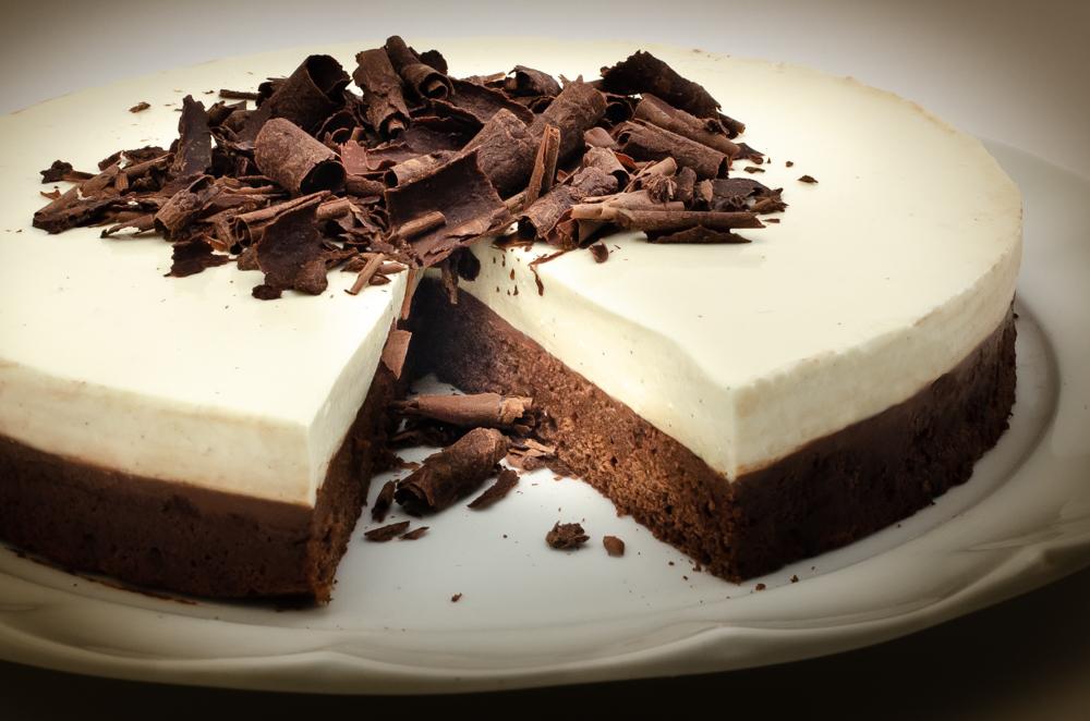 Dad's amazing chocolate panna cotta cake.