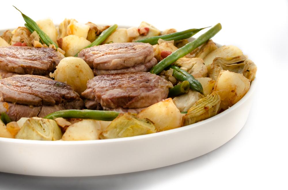 Artichokes and lamb or lamb and artichokes. Whichever, it's a brilliant combination.